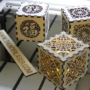 Laser wood cutting – Lampshade cutting (good fortune)